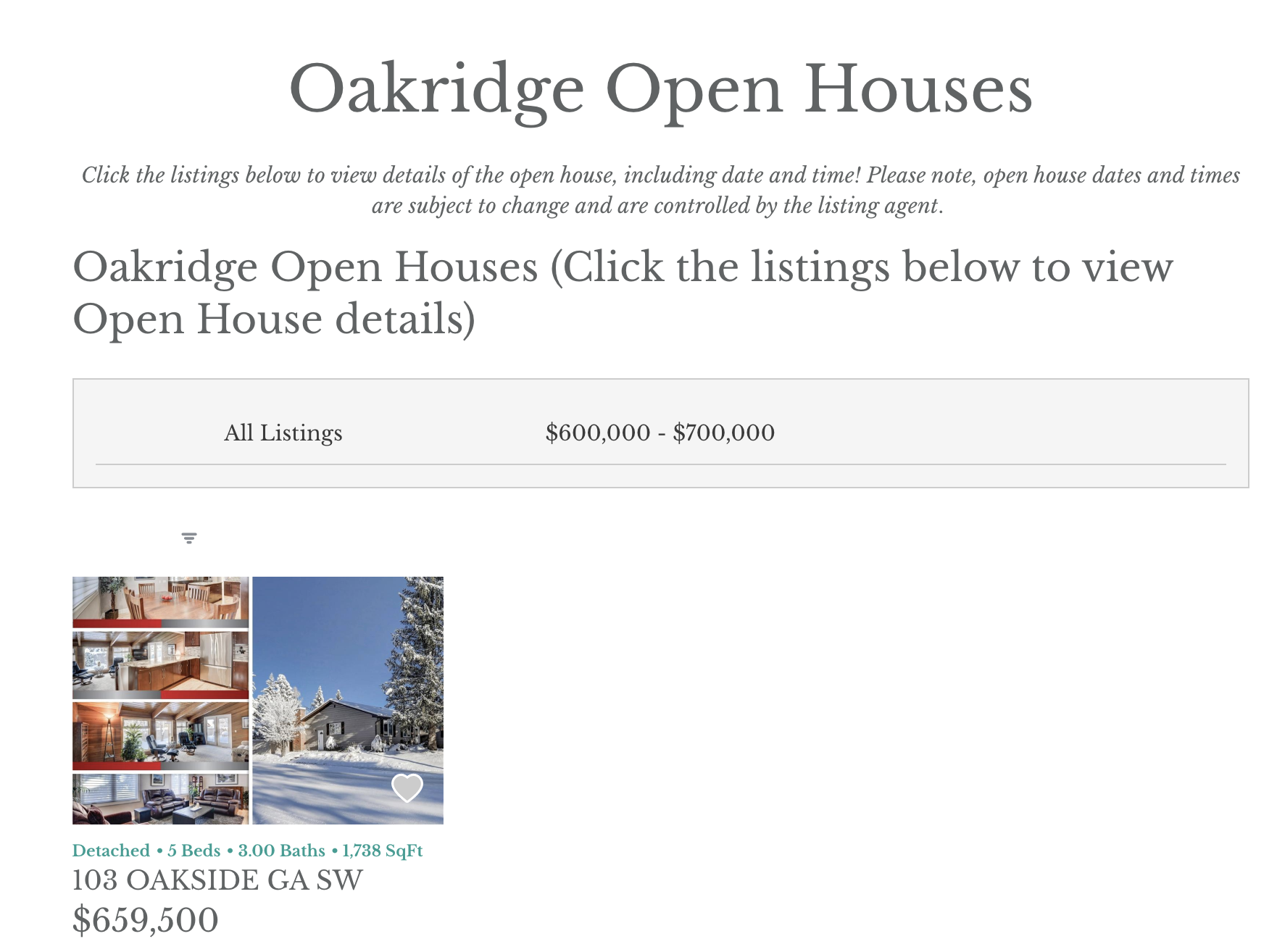 Open Houses in Calgary